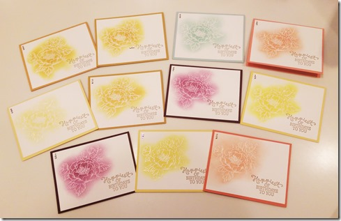 Birthday Blooms emboss resist cards