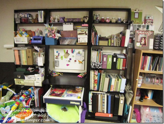 my craft room scrapbook shelves