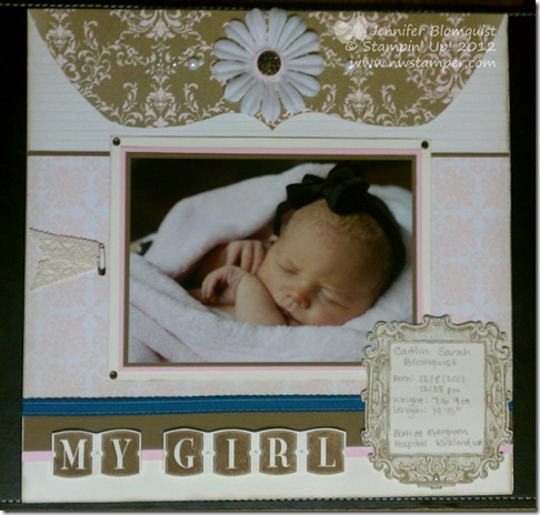 Caitlin Baby scrapbook layout