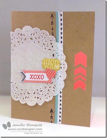 January paper pumpkin doily xoxo card