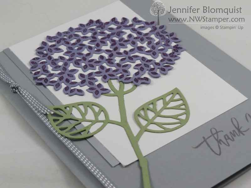 Thoughtful Branches Hydrangea Card in Silver side view