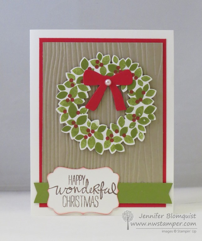 Sweet And Simple Christmas Card With Wondrous Wreath