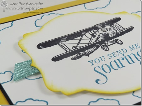 Glitter Ribbon close up of Sky is the Limit stamp