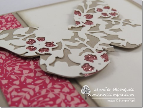 Bloomin' Heart butterfly with Blushing Bride glimmer paper